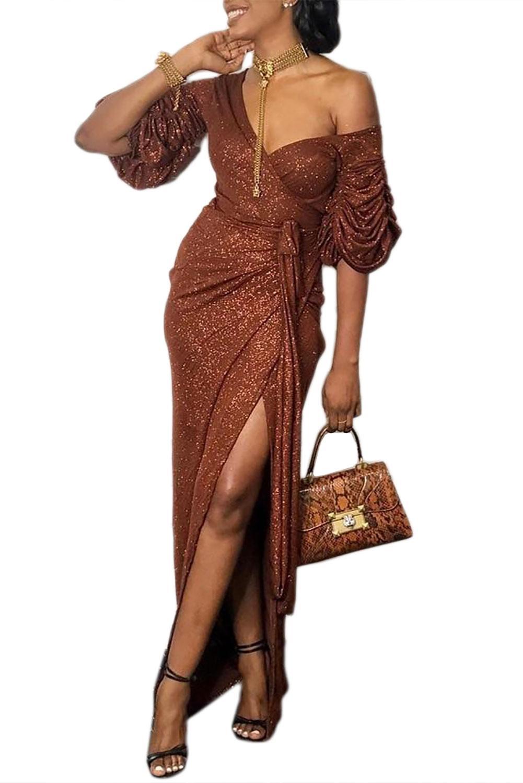 Marron Sexy enveloppé col en V fendu Sequin fête robe de bal robe femmes élégant froncé Puffy demi manches longues robes de boîte de nuit