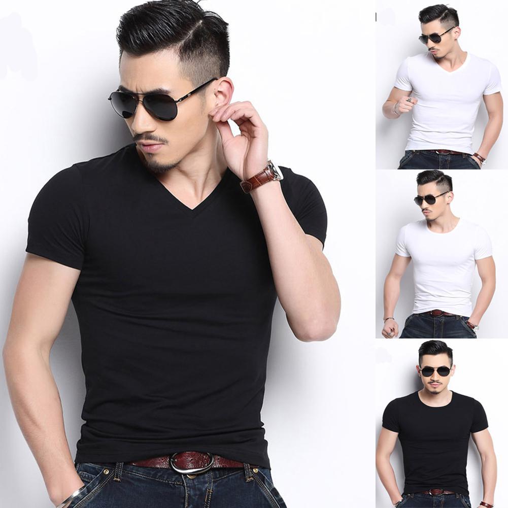 Men Casual Slim Summer Black White Basic Tees T Shirt Tops Short Sleeve V-neck Bodycon Solid Homme T-shirt Tops