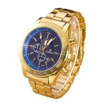 Relogio Luxury Watches for Men Stainless Steel Belt Hardlex Gold Watches Male Analog Quartz Movement Wrist Clock Montre homme