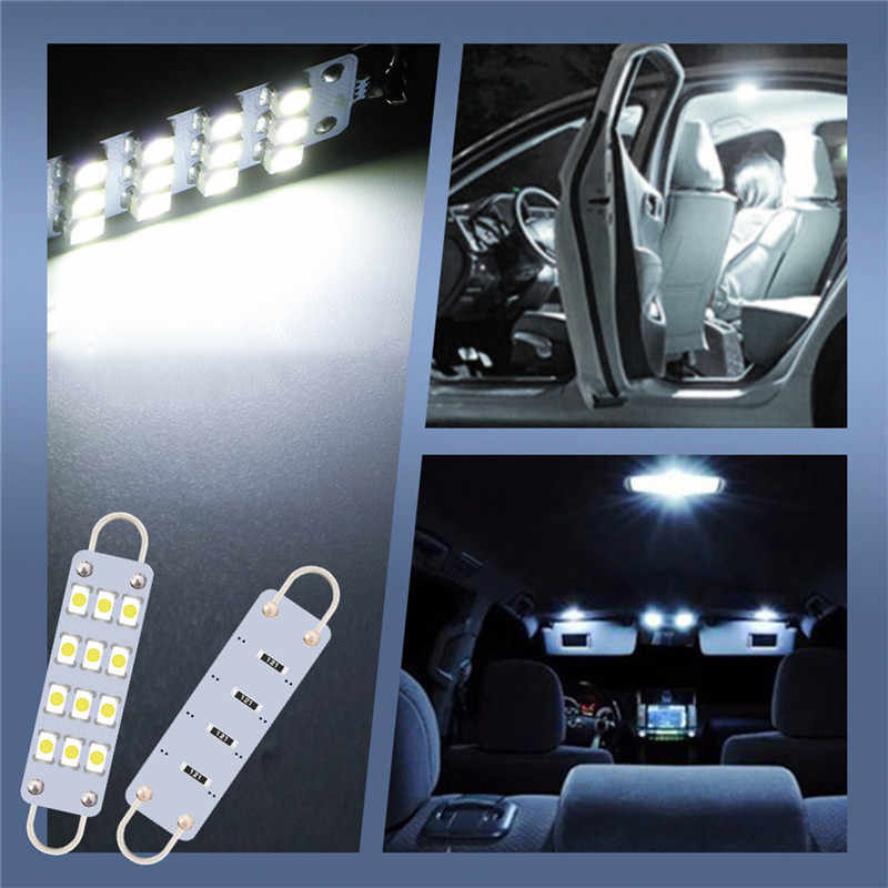 kongyide Car Light 4Pcs Festoon LED Bulb 12SMD Loop 1.73inch White Interior Dome Map LED Lights Bulbs 1W 100 LM 12V 6000K White