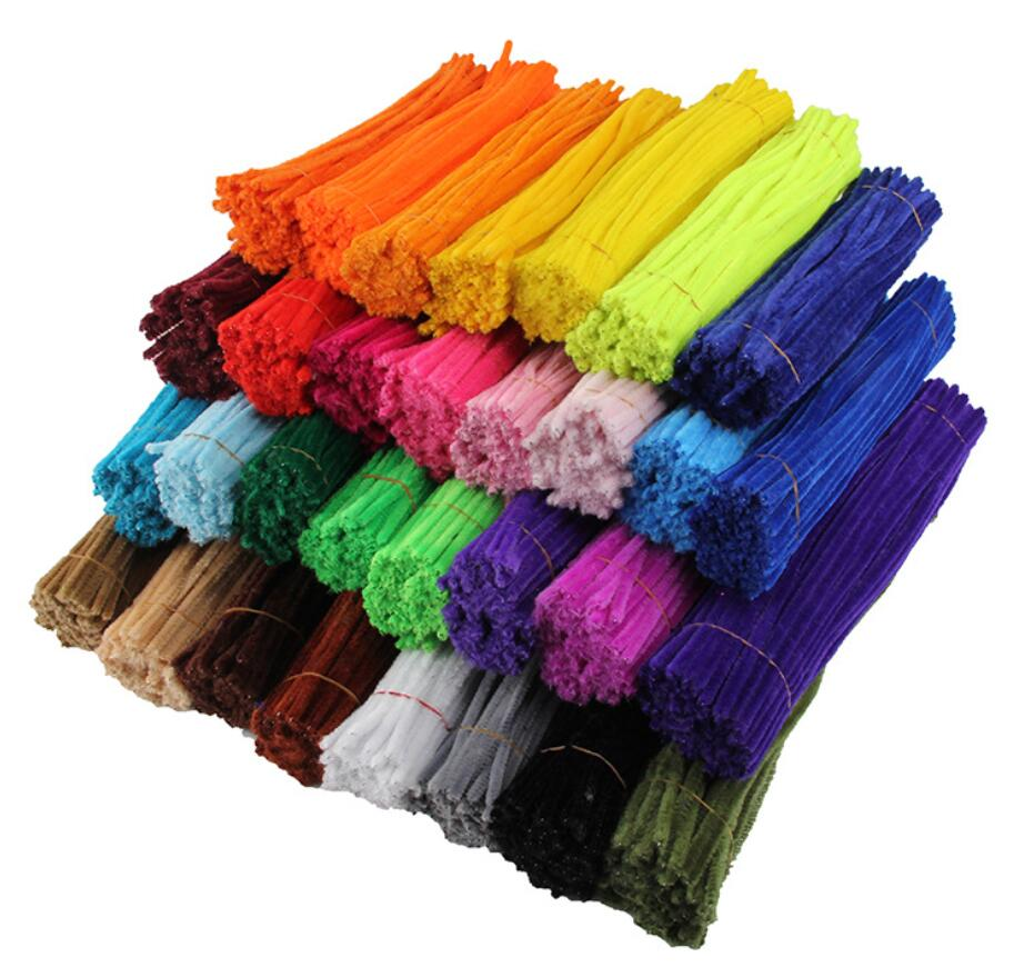 100pcs 6mm x 300mm Chenille Stems Twist Wire Pipe Cleaners Children Handmade Education Craft