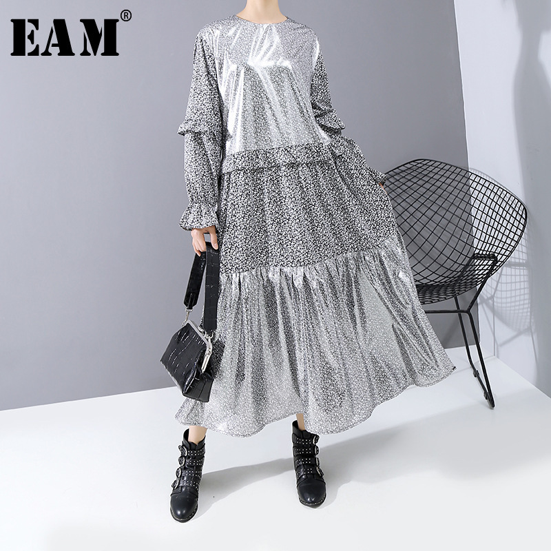 [EAM] Women Pattern Print Ruffles Split Midi Dress New Round Neck Long Sleeve Loose Fit Fashion Tide Spring Autumn 2020 1N247
