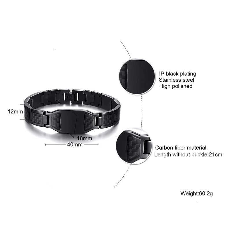 Vnox personnalisez les Images élégantes de bouclier croisé de Scorpion des hommes Bracelets de chaîne avec des cadeaux uniques de bijoux faits sur commande de Fiber de carbone pour lui