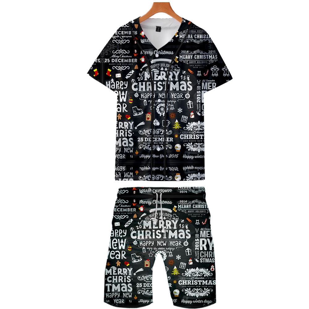 2019 Christmas Two Piece Set Jackets And Shorts Kpop Fashion New Cool Print Christmas Baseball Jacket Set For Men Streetwear