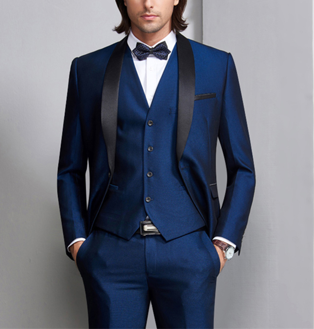 Blue Tuxedo Mens Suits Men 3 Pieces Formal Prom Blazer  Shawl Lapel For Wedding Groom Man ( Jacket+Vest+Pants) Dinner Party Tuxe