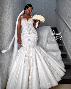 Image 2 - Luxury African Mermaid Wedding Dresses Plus Size 2020 robe de mariee Beaded Crystal Lace Wedding Gowns Custom Made Bridal Dress