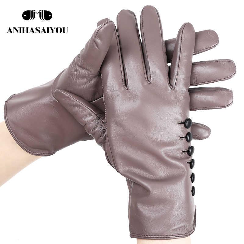 Высококачественные цветные женские перчатки, перчатки из натуральной кожи, сохраняющие тепло женские зимние перчатки, перчатки из мягкой овчины-2011