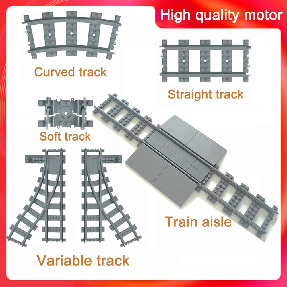 City Trains Track Train Flexible Tracks Rail Straight Curved Rails Building Block Bricks Model Compatible LegoINGlys Toys