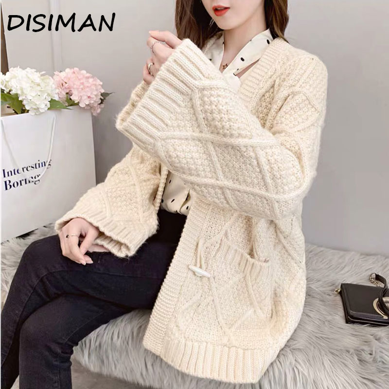 Autumn Winter 2019 Casual Harajuku Oversized Sweater Luxury Clothes High Quality Loose Red Chunky Cardigan Womens Knitted Jacket