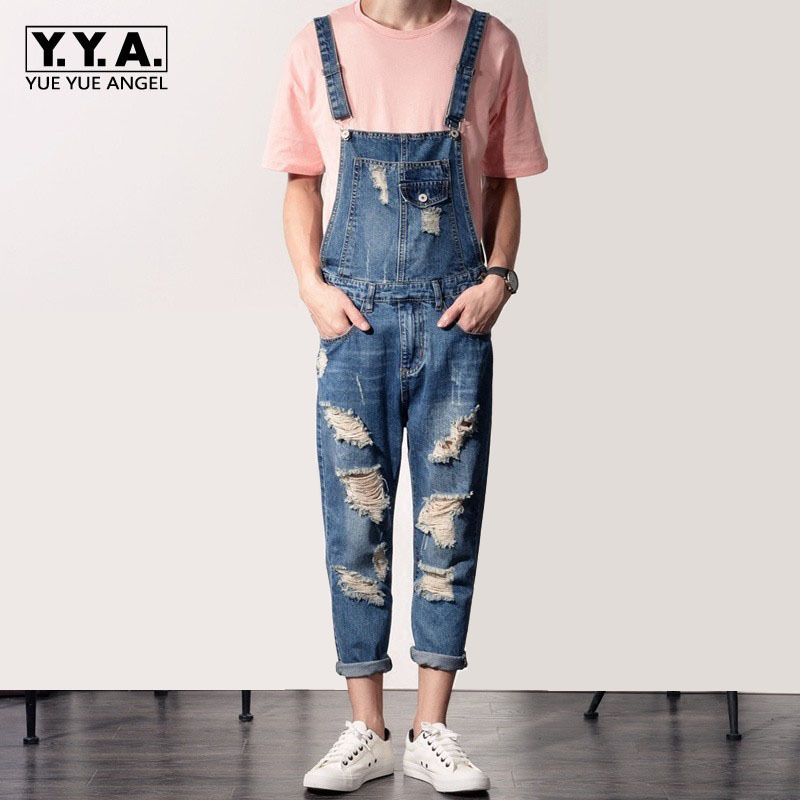 Harajuku Summer Men Hole Ripped Jeans Jumpsuits Plus Size Male Trousers Slim Denim Overalls Retro Casual Cowboys Suspender Pants