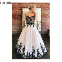 E JUE SHUNG Modest Black and White Wedding Dresses Sweetheart Appliques Lace Up Back A Line Wedding Bridal Gowns Robe De Mariee