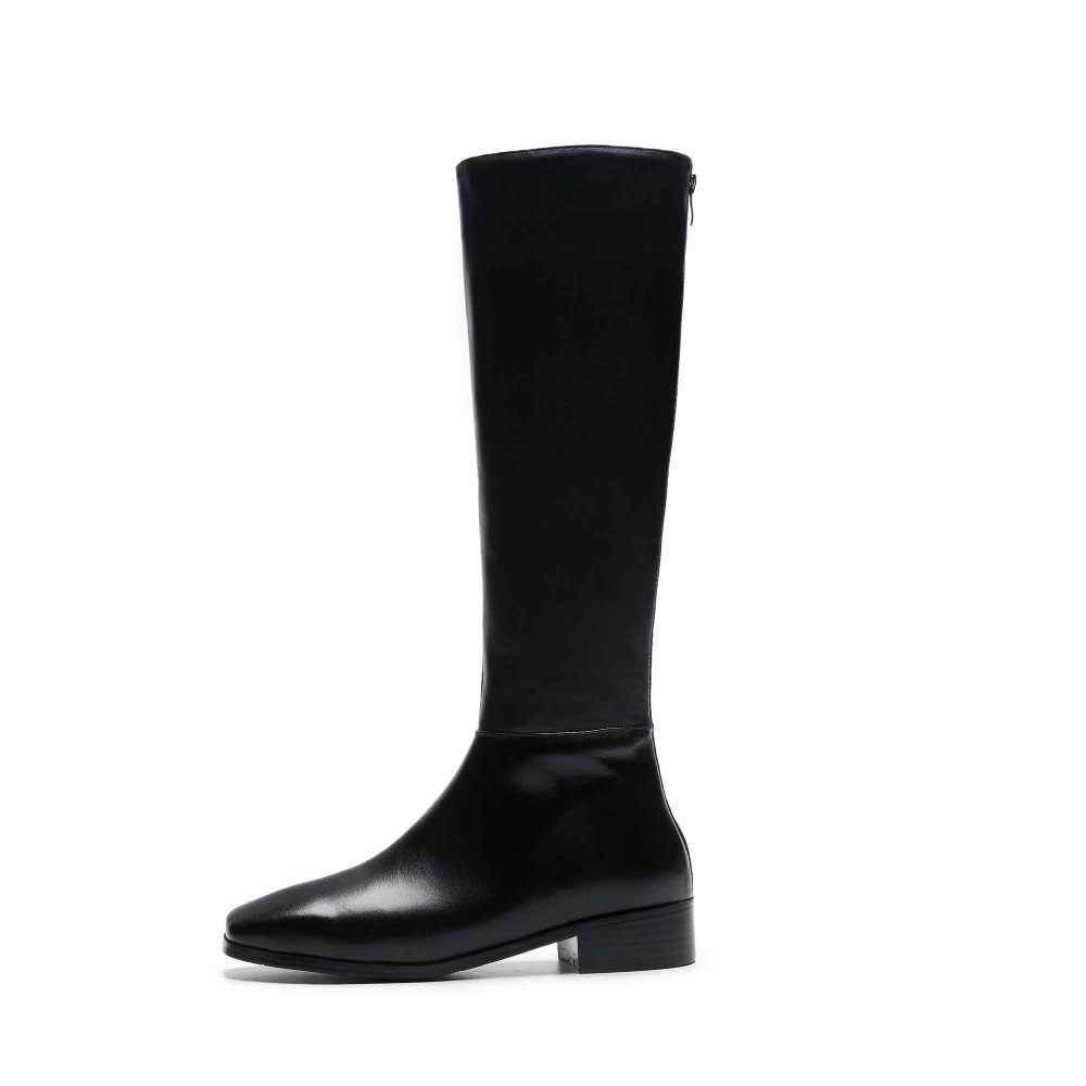 Prova Perfetto hakiki deri büyük boy kalın yakışıklı uzun çizmeler Med topuk kare ayak kadın sıcak tutmak sürme diz yüksek çizmeler