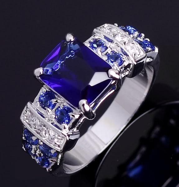 Diamond ring rose gold rings crystal Emerald aquamarine Amethyst blue Retro lady Cubic zirconia emerald  A001