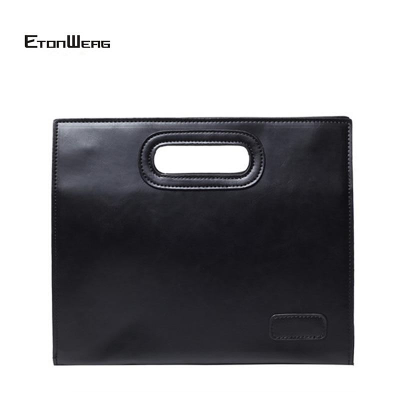 Men Vintage Briefcase Brand PU Leather Handbag Male Business Office Bag Male Solid Black File Bag Simple Casual Tote 2019