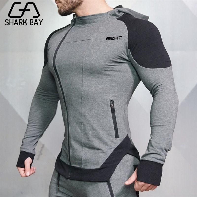 Shark Bay Brand Gyms New Brand Sweatshirt Men Hoodies Winter Solid Hoodie Mens Hip Hop Coat Pullover Men's Casual Tracksuits