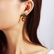 Trendy Earrings For Women Sweet Cute Candy Color Small Pineapple Cherry Shape Pendant Alloy Resin Drop Female