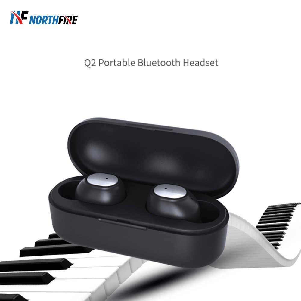 Q2 Bluetooth 5.0 słuchawki bezprzewodowe Bluetooth zestaw głośnomówiący słuchawki sportowe 3D słuchawki stereo Mini w ucho z mikrofonem zestaw słuchawkowy do gier