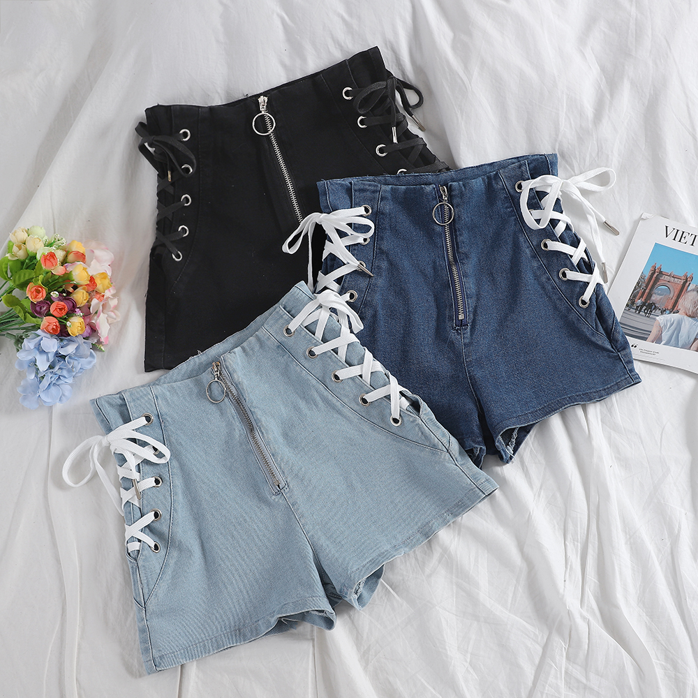 Summer hot Bandage shorts 2020 korean women slim shorts denim sexy high waist Joker basic shorts women denim shorts for womens title=