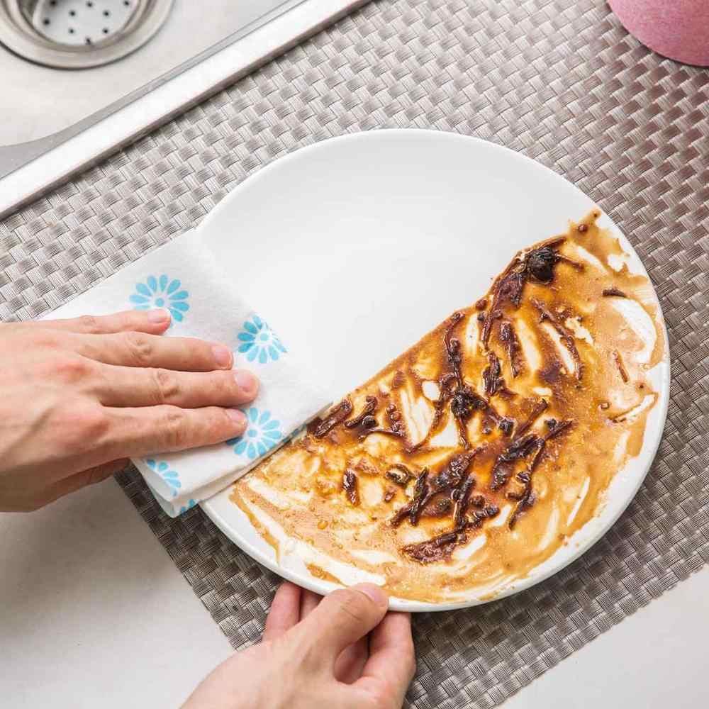 10PCS Non-Stick จานผ้าครัวเรือนดูดซับ Rag KITCHEN ผ้าขนหนูหนาไม่มีผ้าสำลีผ้าขนหนูมือ