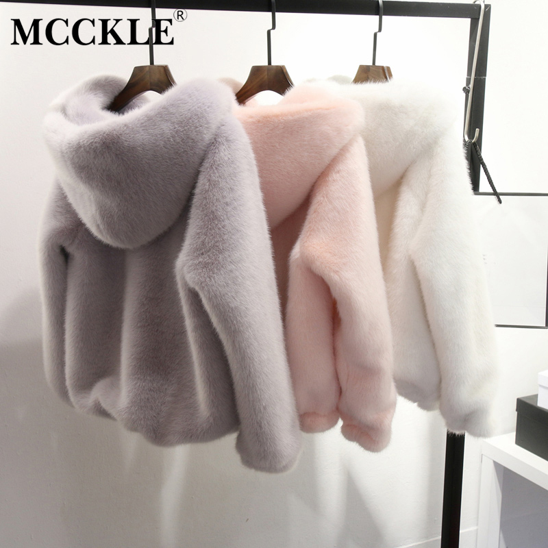 Women's <font><b>Faux</b></font> <font><b>Fur</b></font> Hooded Winter <font><b>Coat</b></font> Jacket Warm Thick Solid Long Sleeve Spring Jackets Women Zipper Outwear Female Dropshipping image