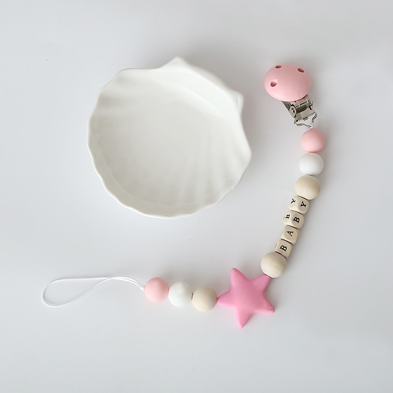 INS New Style Children Silica Gel Baby Star Beaded Bracelet Decoration Baby Silica Gel Pacifier Clip Toy String Beaded Bracelet