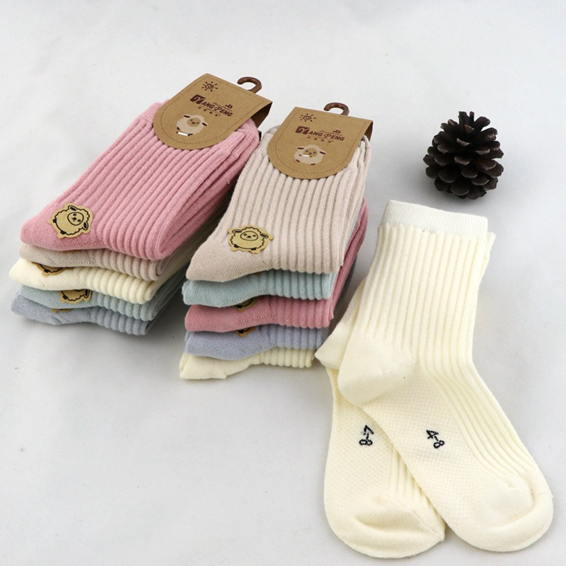 5 Pairs = 10 Pieces Cute Baby Children Socks Candy Color Sweet Cotton Sweat-absorbent Warm Striped Socks 2020 Spring Autumn