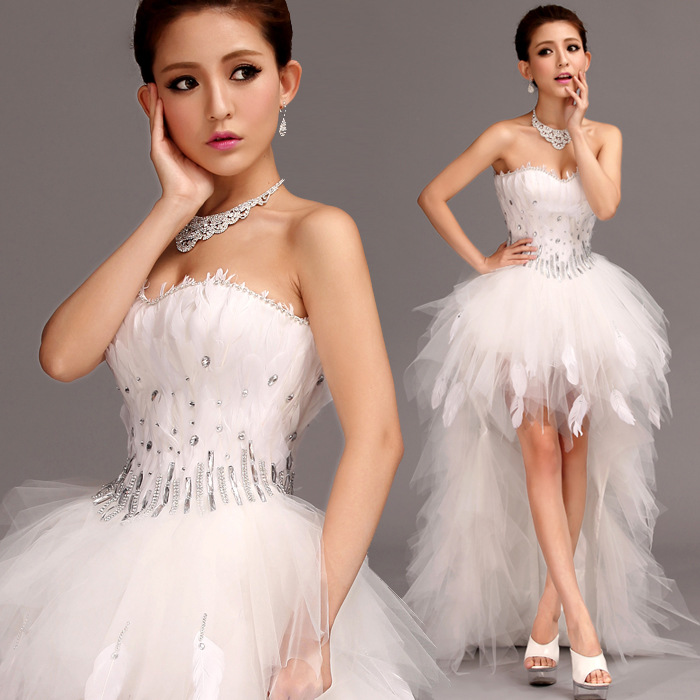 Mrs Win Wedding Dress Strapless Front Short Back Long Ball Gown Princess Luxury Feather Wedding Dresses Plus Size