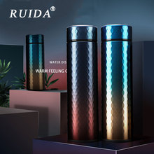 2019 Personality Fashion Gradient Thermos Cup 304 Stainless Steel Vacuum Flask Coffee Tea Mug Travel Insulation Bottle Gifts
