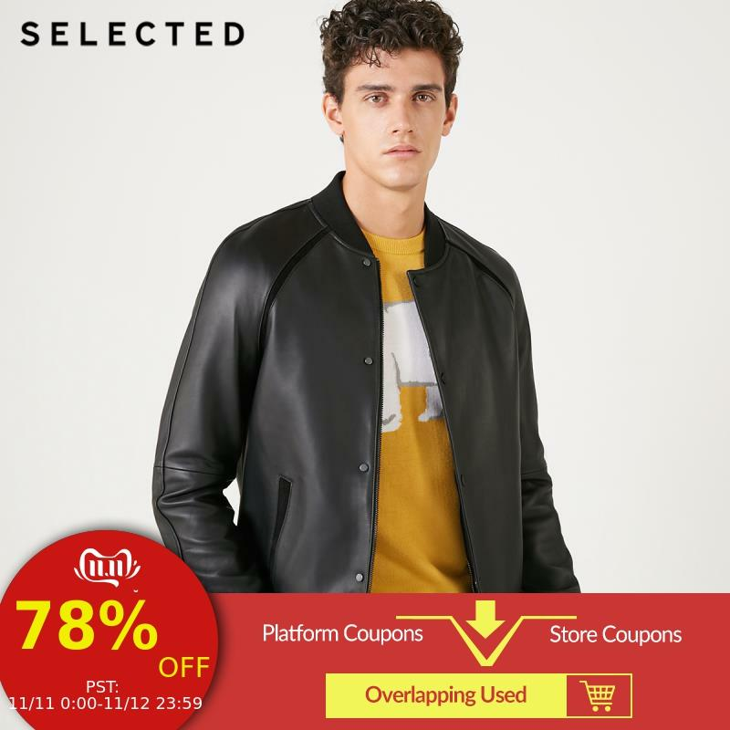 SELECTED Men's Genuine Leather Jacket Sheepskin Baseball Collar Clothes Long-sleeved Coat S | 418410508