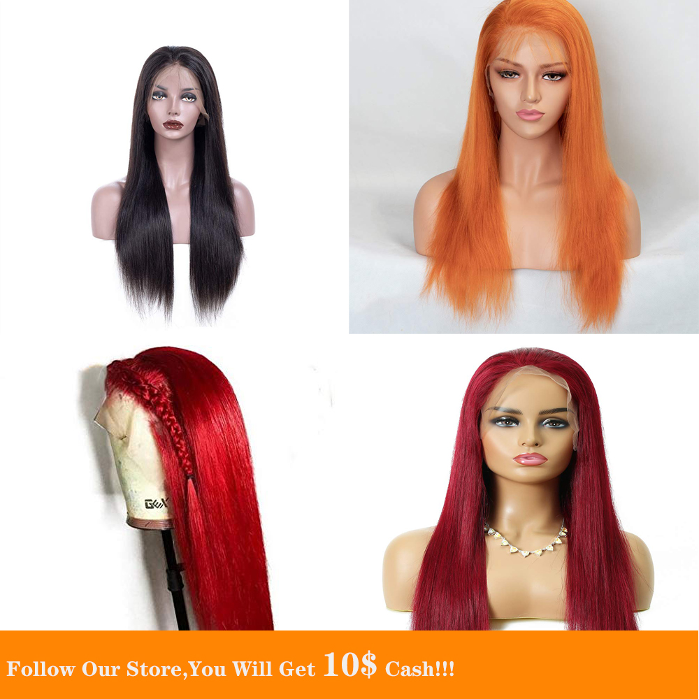 13x4 Lace Front Human Hair Wig SilkyLong Straight Preplucked Colored Jet Black Blue Orange Red Hair Wig With Natural Hairline