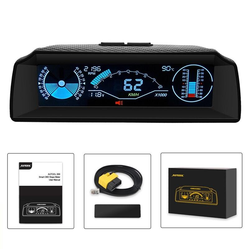 AUTOOL HUD OBD2 オンボードコンピュータヘッドアップディスプレイスロープメーター車のスピードメーターコンパス表示コードクリア車- スタイリングエレクトロニクス