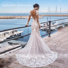 Ivory Rose Long Sleeves Mermaid Wedding Dresses Sequined Lace Sexy Back Bridal Dress
