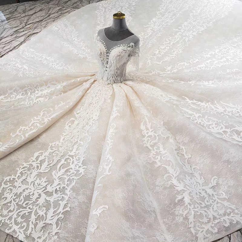 LS11806 księżniczka suknie ślubne z pociągiem o-neck tassel krótkie rękawy lace up suknia ślubna wiązana z tyłu dla dziewczyny robe de mariee fleur