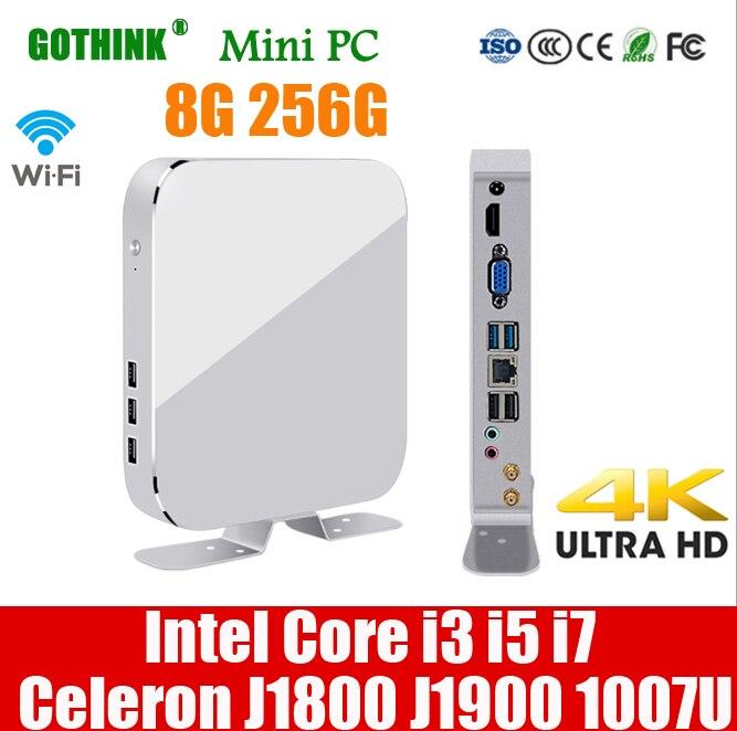 GOTHINK Mini Pc Intel I3 I5 I7 J1800 J1900 1007U Processor 8G 256G Support Windows10 300M WIFI HDMI VGA LINUX System Pocket PC