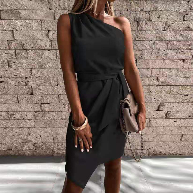Vestido de fiesta liso con hombros descubiertos para Mujer, minivestido Sexy sin mangas ajustado con cinturón, vestido drapeado Irregular informal 2021 6