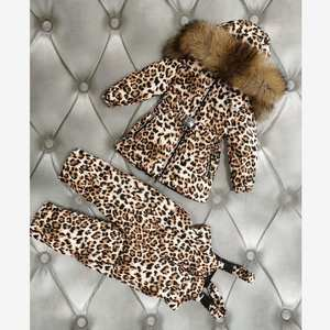Down-Coat Parka Leopard Kids Winter Outerwear Hooded Real-Fur-Collar Children Warm Y1613