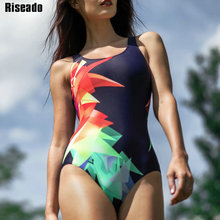 Riseado New Swimwear Women 2019 One Piece Swimsuit Female Printed Sport Competition Swimming Suits for Bathing