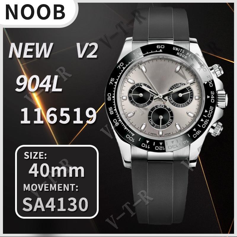 Мужские часы-хронограф 40 мм Daytona 116519 Noob 1:1 лучшее издание 904L SS чехол серый/черный циферблат бесплатный Дополнительный резиновый ремешок SA4130 ...