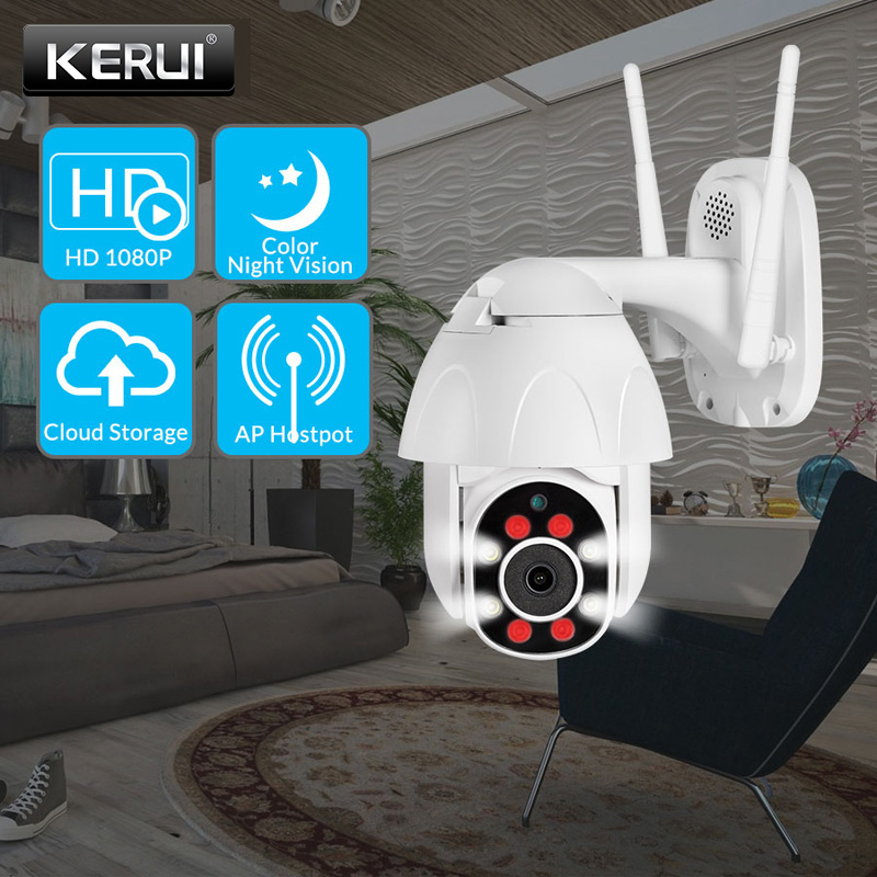 KERUI 1080P 2MP Full Color PTZ Dome IP Camera HD Wifi CCTV Home Security Waterproof Surveillance Night Vision IR Detection Amera