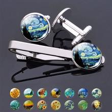 Ван Гог простой зажим для галстука джентльмен запонки набор зажимов для галстука для мужских стеклянных ювелирных изделий звездное ночное небо Подсолнух Подарочная посылка