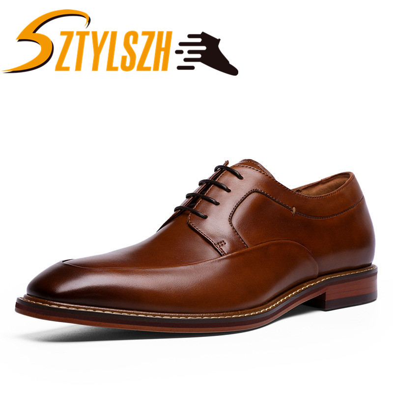 Luxury Brand Men Genuine Leather Formal Business Shoes Male Office Work Flat Shoes Oxford Breathable Italian Style Classic shoes