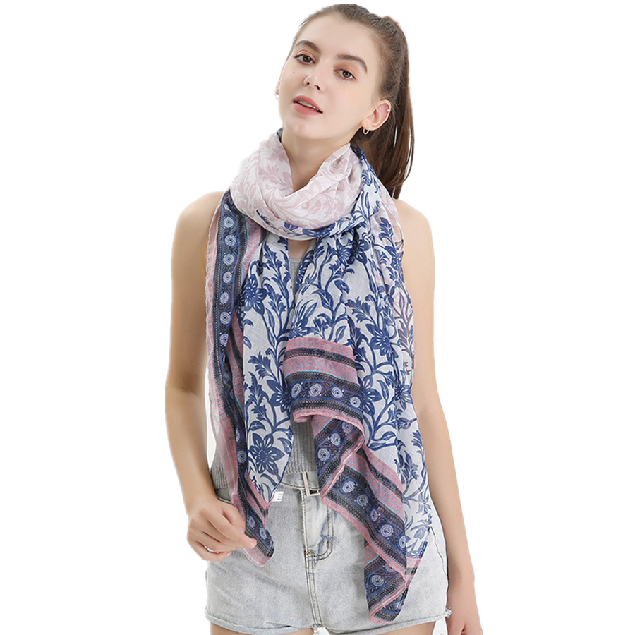 2020 New Vintage Retro Scarf Women Cotton And Linen Scarves And Shwal Female Large Size Bali Yarn Flower Printed Fashion Wraps