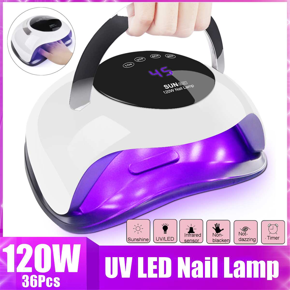 120W High Power Nail Dryer Fast Speed Gel Light Nail Lamp LED UV Lamps For All Kinds Of Gel With Timer And Smart Sensor 36LEDs