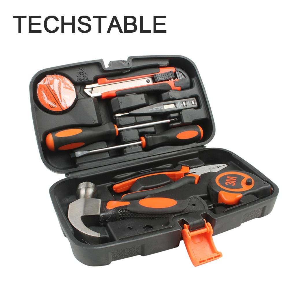 8Pcs/set Multifunctional Home Routine Repair Hand Tool Sets Screwdriver Hammer Pliers Combination Kit Hardware Repair Tools
