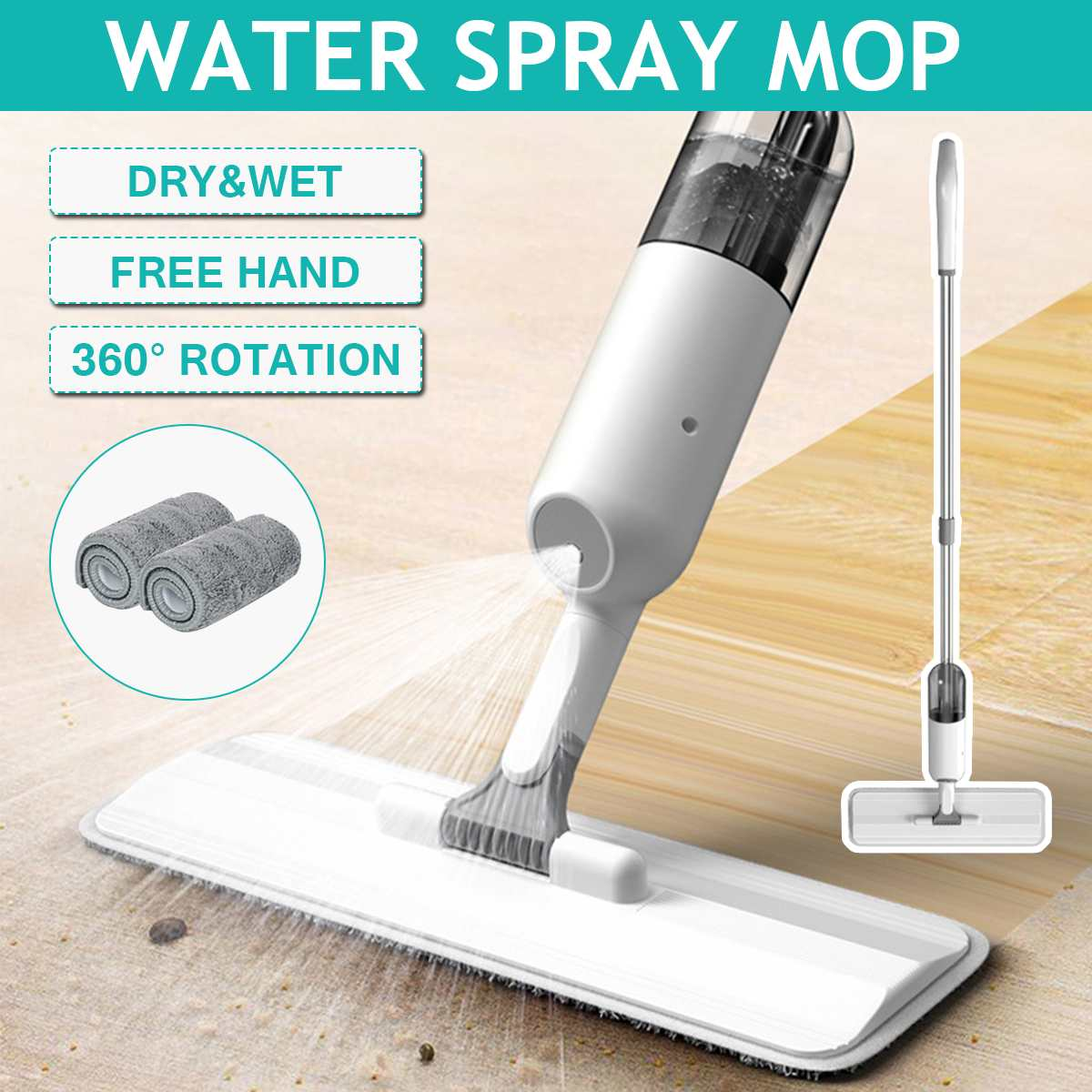 38x12x126cm Household Tile Floor Mop Water Spray Mop With 2 Pieces Cloth Suitable For Bathroom/Kitchen/Living room