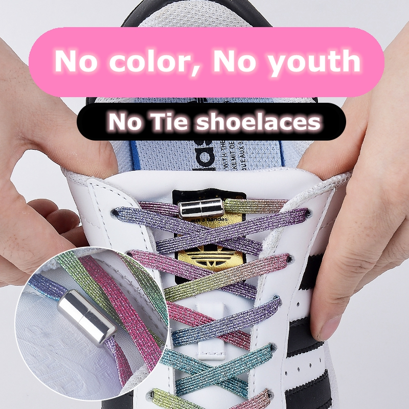 1Pair Elastic Locking Shoelaces Quick Flats No Tie Shoelace Sneakers Locking Shoe Laces Kids Adult Women Men Shoes Lace Strings