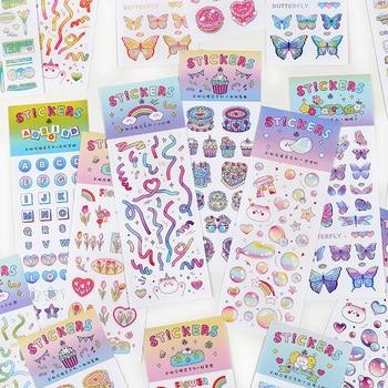 New self-adhesive sticker rainbow ribbon series decorative diary scrapbook DIY stationery aesthetics
