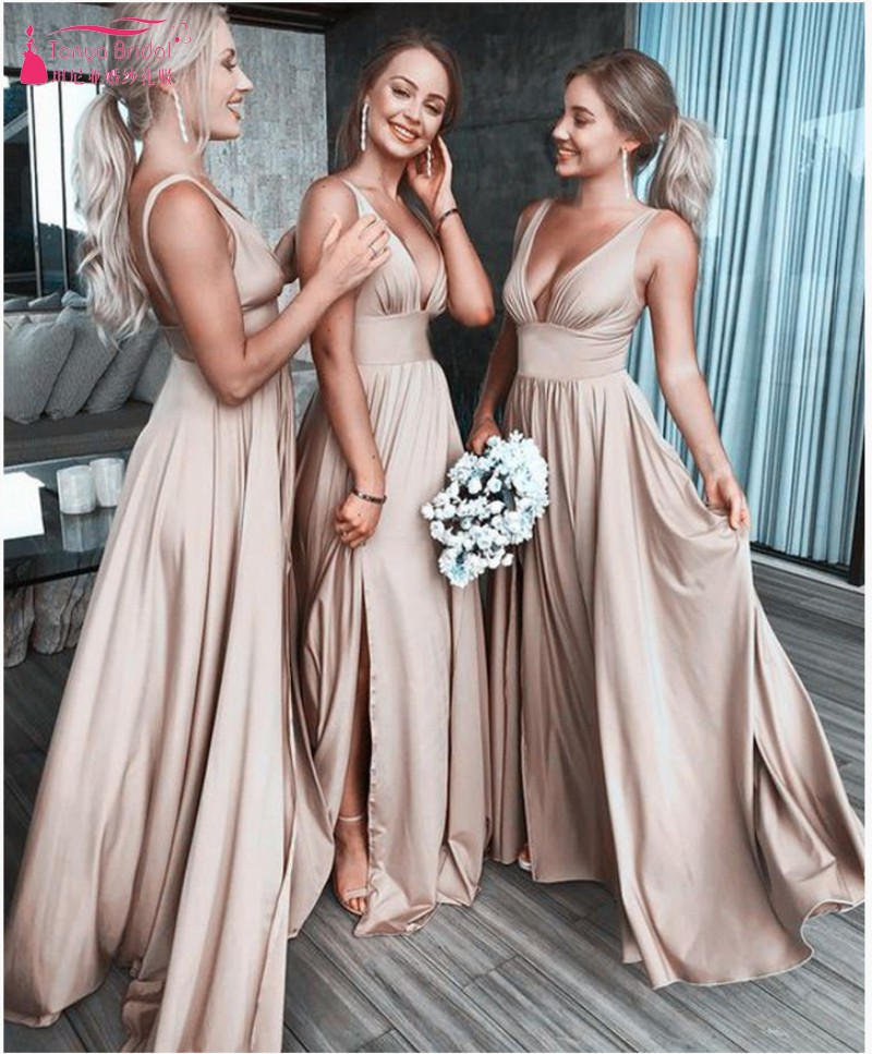 V Neck Bridesmaid Dresses Bandage Dress Simple Style Long Backless Wedding Guest Dress With Strech DQG967