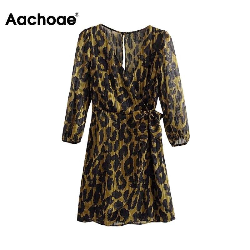 Women Leopard Print Short Dress V-neck Spring Summer Chiffon Mini Dress Chic Hollow Out Sundress Vintage Ladies Sashes Dresses