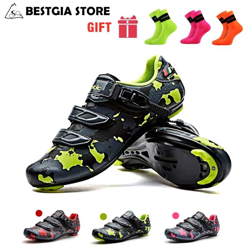 Santic hommes chaussures de vélo de route Auto-verrouillage Pro athlétique course équipe chaussures de vélo PU respirant zapatillas Ciclismo chaussures de cyclisme